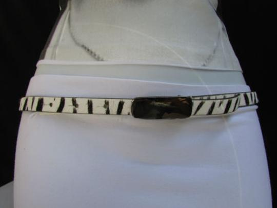 DKNY Dkny Women 0.5 Thin Black White Zebra Fashion Belt Pewter Buckle 31-35 Image 1