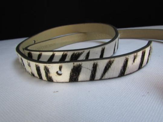 DKNY Dkny Women 0.5 Thin Black White Zebra Fashion Belt Pewter Buckle 31-35 Image 10