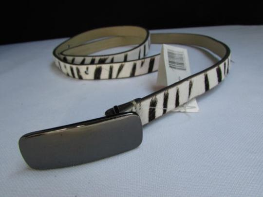 DKNY Dkny Women 0.5 Thin Black White Zebra Fashion Belt Pewter Buckle 31-35 Image 2