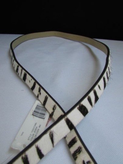 DKNY Dkny Women 0.5 Thin Black White Zebra Fashion Belt Pewter Buckle 31-35 Image 6