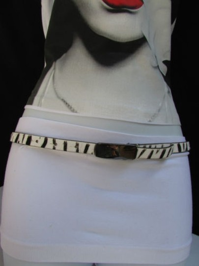 DKNY Dkny Women 0.5 Thin Black White Zebra Fashion Belt Pewter Buckle 31-35 Image 7