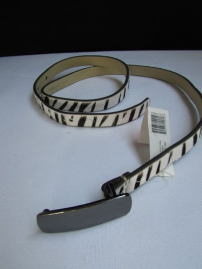 DKNY Dkny Women 0.5 Thin Black White Zebra Fashion Belt Pewter Buckle 31-35 Image 8