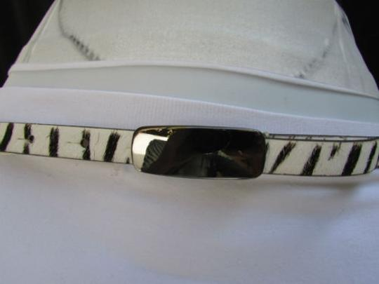 DKNY Dkny Women 0.5 Thin Black White Zebra Fashion Belt Pewter Buckle 31-35 Image 9