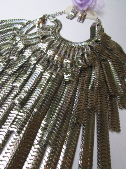 Other A Women Over Wide Multi Strand Silver Links Chains Big Metal Necklace 20