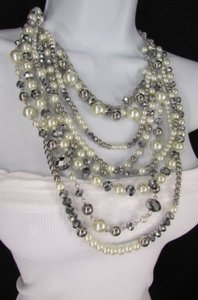 A Women Long Fashion Silver Necklace Strands Imitation Gray Big Pearl Beads