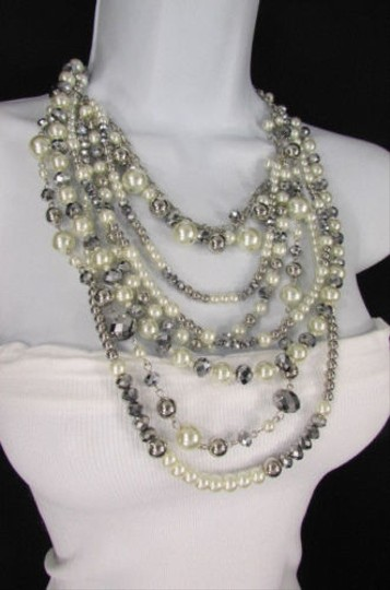 Other A Women Long Fashion Silver Necklace Strands Imitation Gray Big Pearl Beads