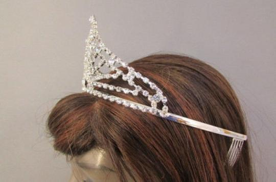 A Women Big Silver Classic Prom Crown Fashion Wedding Tiara Rhinestones Pagent