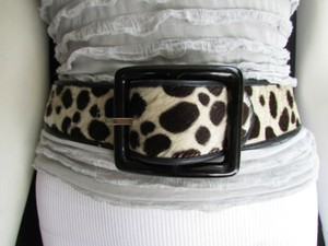 Women Brown Leopard Pony Hair Fashion Belt Big Black Square Buckle 26-28