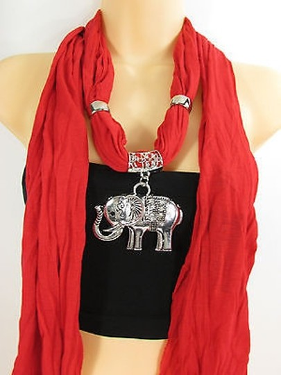 Other Women Fashion Necklace White Red Scarf Elephant Antique Silver Big Pendant