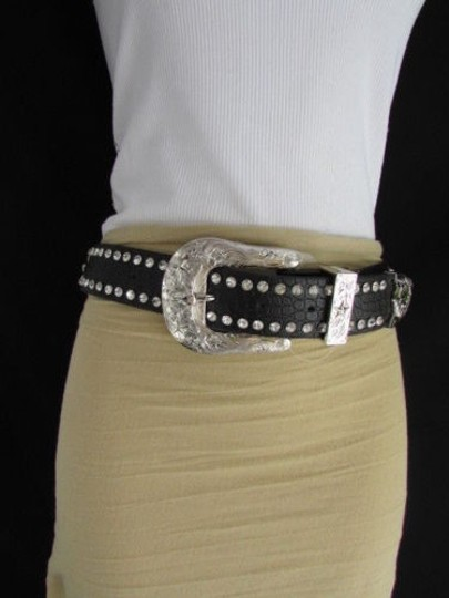 Other A Women Black Leather Western Bows Rhinestones Belt Silver Buckle 34-39