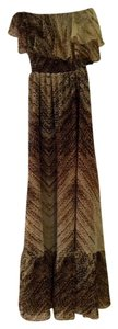 Brown / Beige Print Maxi Dress by MM Couture Strapless Boho Ruffles Boho Chic Animal