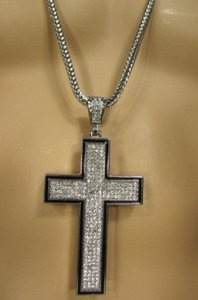 A Men Metal Chains 35 Long Fashion Necklace Silver Pewter Board Cross Pendant