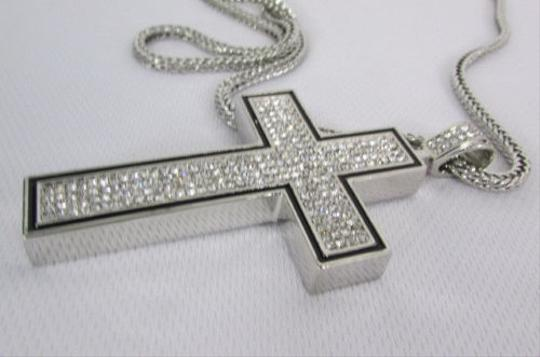 Other A Men Metal Chains 35 Long Fashion Necklace Silver Pewter Board Cross Pendant