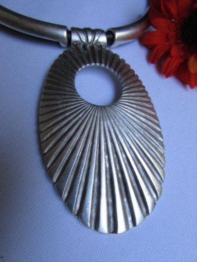 Other Women Metal Silver Chains Big Oval Shell Pendant Necklace Moroccan Handmade
