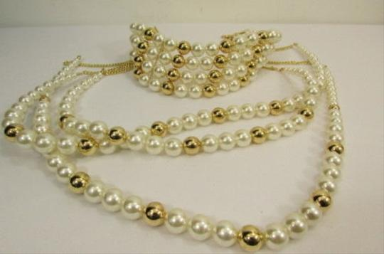 Other Women Gold Metal Multi Pearl Beads Strands Chains Choker Fashion Necklace