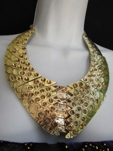 Other Women Gold Metal Plates Fashion Snake Skin Necklace Rhinestones Earrings Set