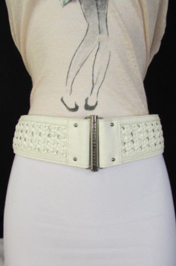 A|X Armani Exchange Armani Exchange Women Fashion Belt Wide White Faux Leather Hip Waist Hot