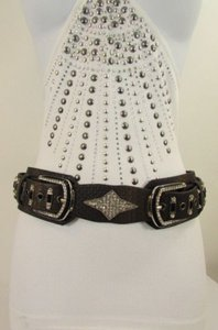 Other Women Brown White Genuine Leather Western Fashion Belt Rhineston 27-35