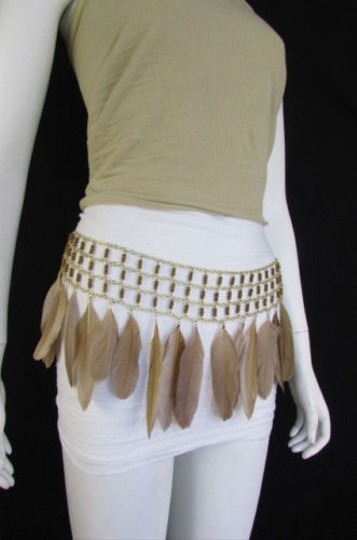 Other A Women Black Brown Feathers Gold Metal Chains Fashion Belt Hip Waist