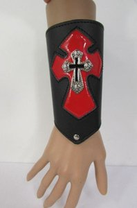 Other A Men Black Leather Big Red Metal Cross Arm Tie Bracelet Biker Rocker Fashion