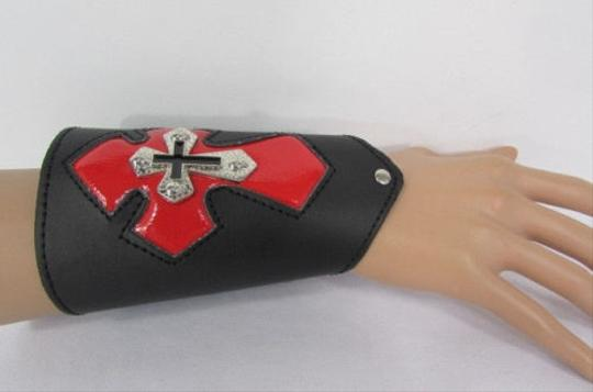 Other A Men Black Leather Big Red Metal Cross Arm Tie Bracelet Biker Rocker Fashion Image 1