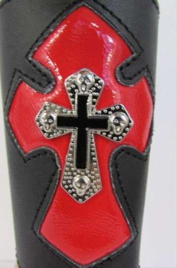 Other A Men Black Leather Big Red Metal Cross Arm Tie Bracelet Biker Rocker Fashion Image 10