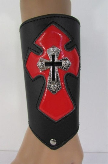 Other A Men Black Leather Big Red Metal Cross Arm Tie Bracelet Biker Rocker Fashion Image 4