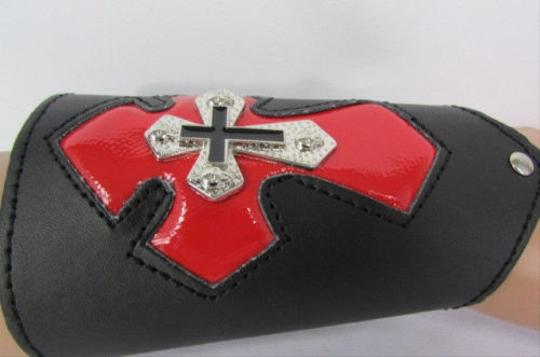 Other A Men Black Leather Big Red Metal Cross Arm Tie Bracelet Biker Rocker Fashion Image 5