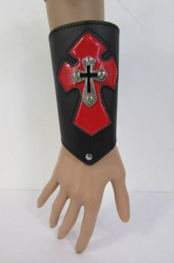 Other A Men Black Leather Big Red Metal Cross Arm Tie Bracelet Biker Rocker Fashion Image 6