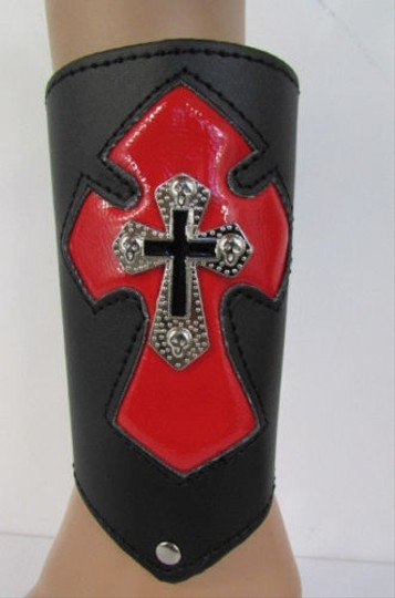 Other A Men Black Leather Big Red Metal Cross Arm Tie Bracelet Biker Rocker Fashion Image 8