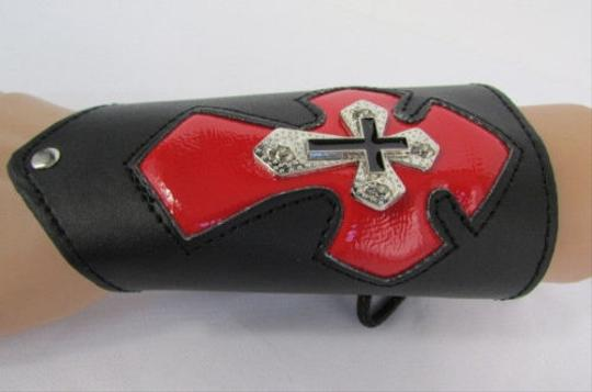 Other A Men Black Leather Big Red Metal Cross Arm Tie Bracelet Biker Rocker Fashion Image 9