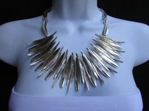 Other A Women Metal Pins Silver Chains Statement Fashion Necklace Handmade Turkey