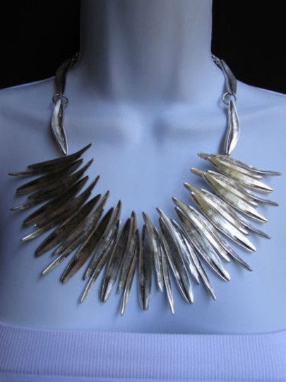 Other A Women Metal Pins Silver Chains Statement Fashion Necklace Handmade Turkey Image 2