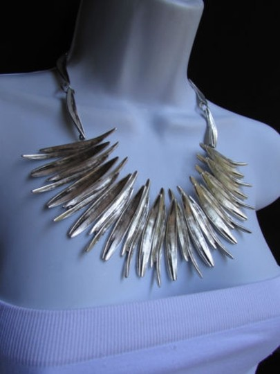 Other A Women Metal Pins Silver Chains Statement Fashion Necklace Handmade Turkey Image 8