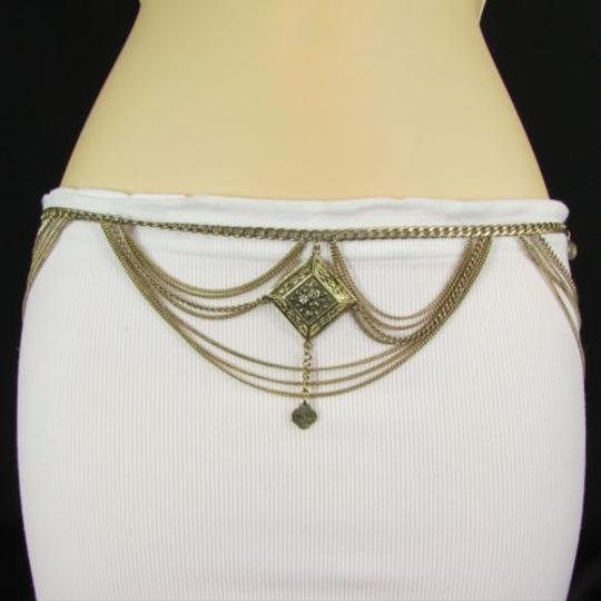 Other A Women Metal Chains Fashion Belt Gold Silver Feathers Hip Waist 29-37