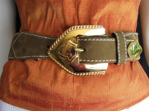 Escada Escada Belt Taupe Brown Suede Leather Western Big Gold Buckle 29-31