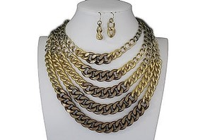 Women Gold Bronze Metal Chunky Thick Chains Fashion Necklace Earrings Set