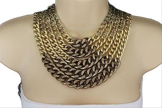 Other Women Gold Bronze Metal Chunky Thick Chains Fashion Necklace Earrings Set