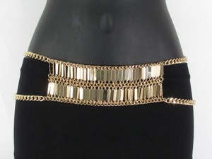 A Women Hip High Waist Gold Metal Plates Chains Fashion Belt 27-37