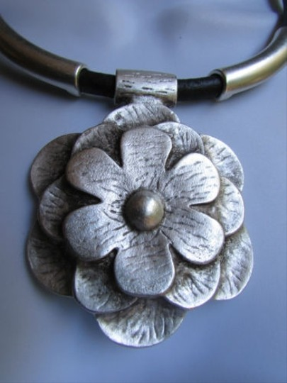Other A Women Metal Silver Chains Big Flower Pendant Necklace Moroccan Handmade