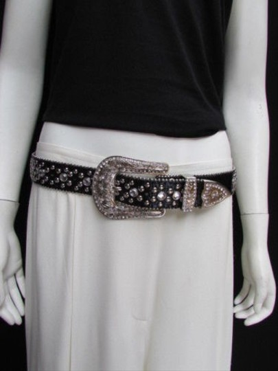 Other A Women Black Leather Western Cross Rhinestones Belt Silver Buckle 33-38
