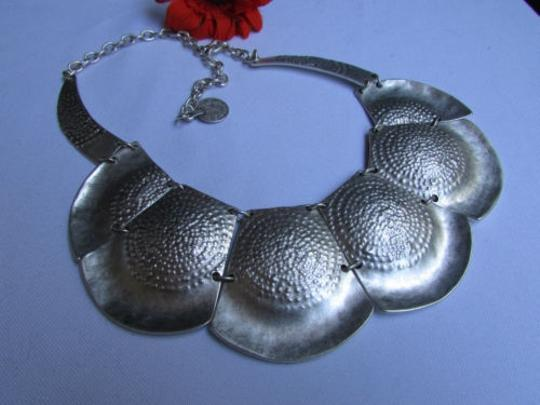 Other A Women Metal Plates Silver Chains Statement Fashion Necklace Handmade Turkey