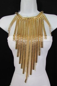 Women Gold Metal Multi Strands Links Chains 20 Long Fashion Necklace