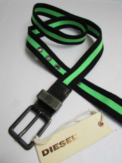 Other Diesel Women Belt Fashion Black B. Green Fabric Fbtape 34-38 100cm
