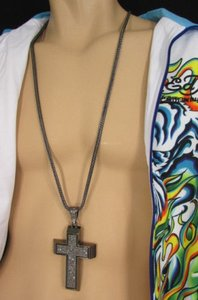 Other A Men Metal Chains Long Fashion Necklace Silver Pewter Boarded Cross Pendant