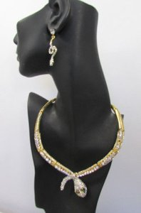 Fashion Women Necklace Silver Earring Set Silver Metal Snake Short Gold