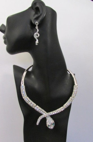 Other Fashion Women Necklace Silver Earring Set Silver Metal Snake Short Gold Image 1