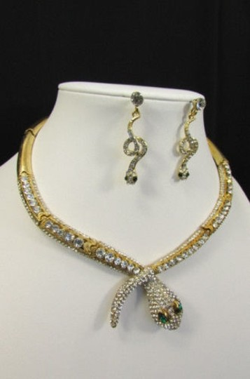 Other Fashion Women Necklace Silver Earring Set Silver Metal Snake Short Gold Image 10