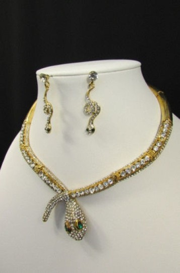 Other Fashion Women Necklace Silver Earring Set Silver Metal Snake Short Gold Image 11