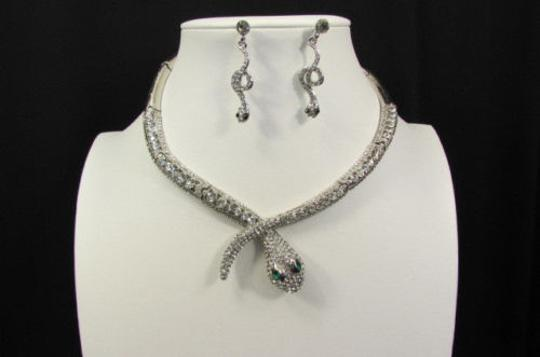Other Fashion Women Necklace Silver Earring Set Silver Metal Snake Short Gold Image 3